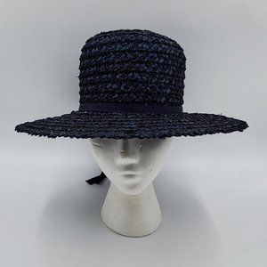 The Paris Boutique Vintage Navy Straw Hat
